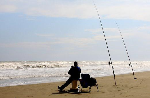 Fishing, Beach, Fisher, Fisherman, Fishing Rods