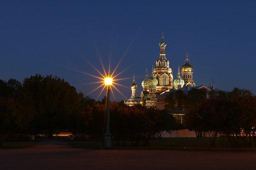 St Petersburg, Russia, Night, Architecture, Church