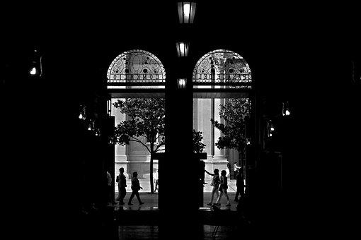 Silhouettes, City, Door, Architecture, Sculptures