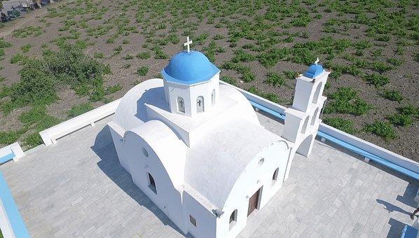 Church, Aerial Photo, Santorini, Blue, Greece