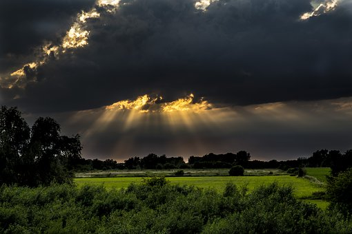 Sun, Evening, Sunset, Setting Sun, Clouds, Nature, Air