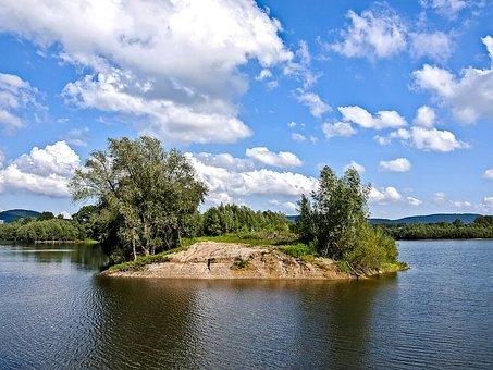 Gravel Pond, Water, Clouds, Landscape, Nature
