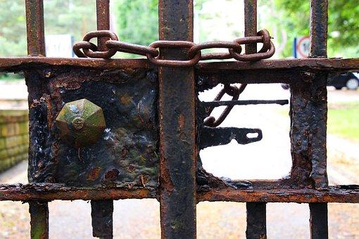 Locked, Gates, Security, Metal, Old, Entrance, Door
