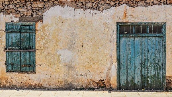 Old House, Door, Window, Wooden, Wall, Damaged