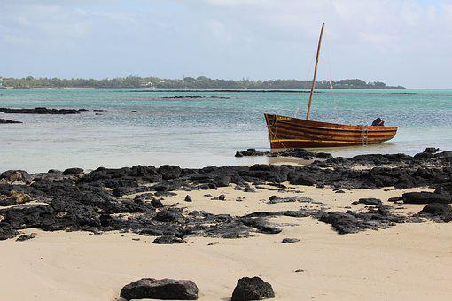 Boot, Beach, Wooden Boat, Rock, Mauritius