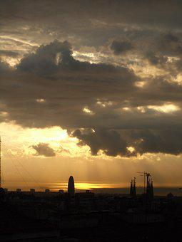Barcelona, Sunset, Sky, Storm, Rain
