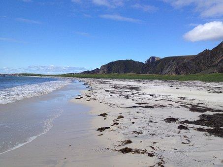 Sandy Beach, Beach, Sky, Sea, Waves, Blue Sky, Mountain