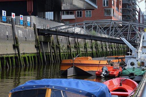 Hamburg, Harbour City, Port, Bridge, City, Channel