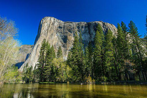 Yosemite, El Capitan, Merced, River, Sky, Blue, Green