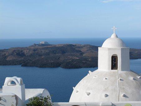 Greece, Santorini, Church, Travel, Greek, Island