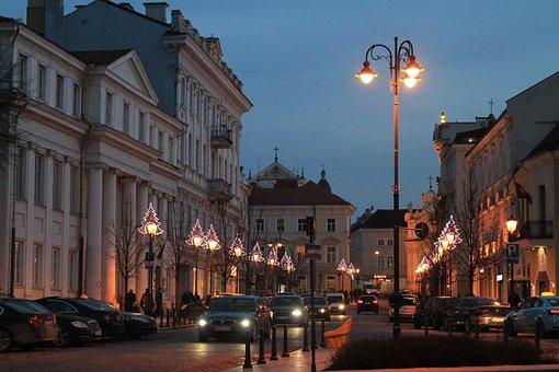 At Night, Streets, Lantern, Autos, Vilnius, Light