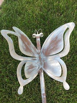 Butterfly, Nature, Metal, Sculpture, Design