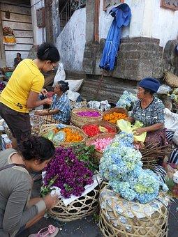 Bali, Ubud, Indonesia, Asia, Market, Flowers, Travel
