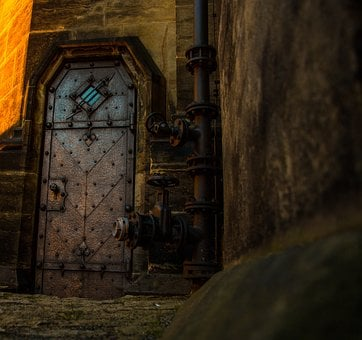 Door, Old Door, Steampunk, Historically, Iron, Tube
