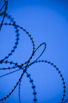 Blue, Wire, Prison, Barricade, Barbed Wire, Sharp