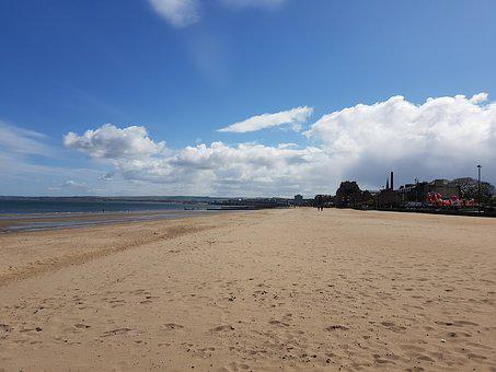 Edinburgh, Portobello, Beach, Sand, Cloud