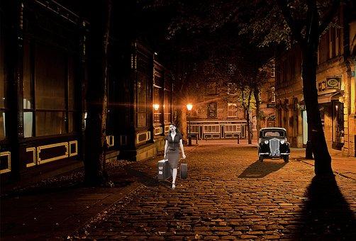 City, Darkness, Lighting, Road, Building, Abendstimmung