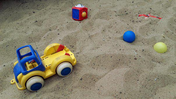 Children, Toys, Toy, Fun, Sandpit, Sand, Ball, Toy Car