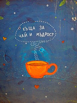 Tea, Cup, On The Wall, Drink, Hot, Healthy, Green, Leaf