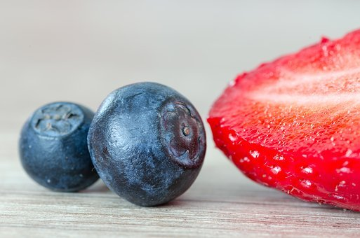 Strawberry, Strawberries, Red, Blue, Blueberry, Fruit