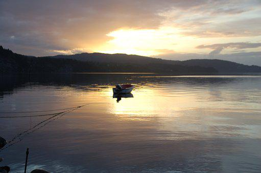 Sea, Sunset, Boat, Norway, The Nature Of The, Summer