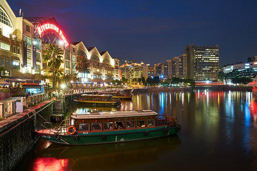 Singapore, Night, Travel, Architecture, Great