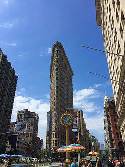 Flat Iron, New York, Clock, Building, Downtown, City
