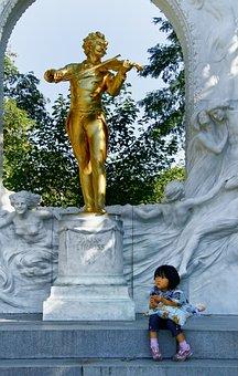 Monument, Golden, Statue, Strauss, Music, Park, Child