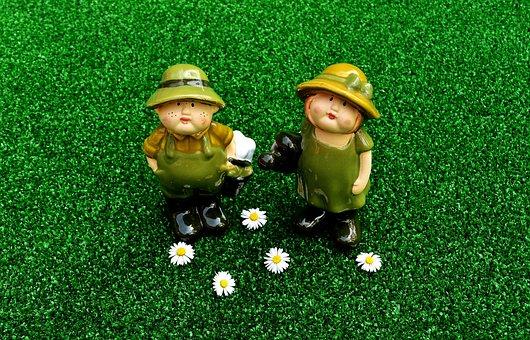 Gardening, Figures, Pair, Funny, Meadow, Garden