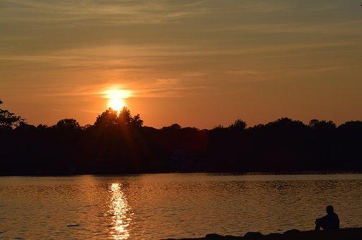 Sunset, Lake, Silhouette, Man Sitting, Shore, Water