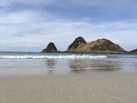 Beach, Sea, Waves, Water, Landscape, Sky, Mountain