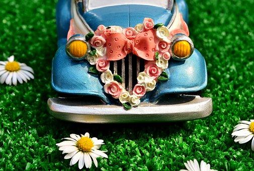 Wedding, Auto, Marry, Bride And Groom, Decoration, Love