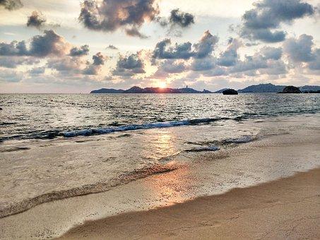 Acapulco, Beach, Sunset, Sea, Mexico