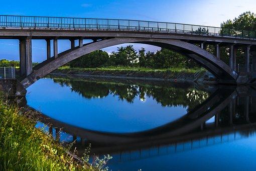 Bridge, Long Exposure, Night Photograph, Mirroring