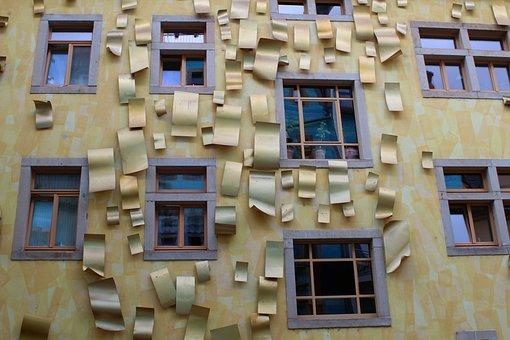 Facade, Gold, Golden, Art, Backyard, Building