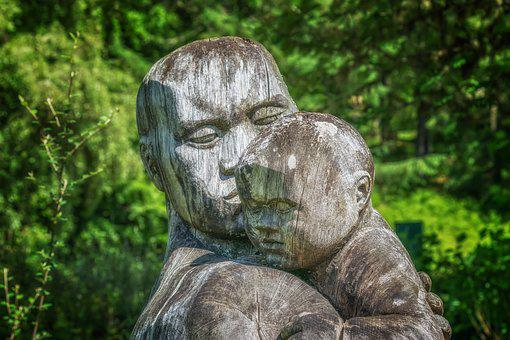 Sculpture, Wood, Child, Parents, Holzfigur, Figure