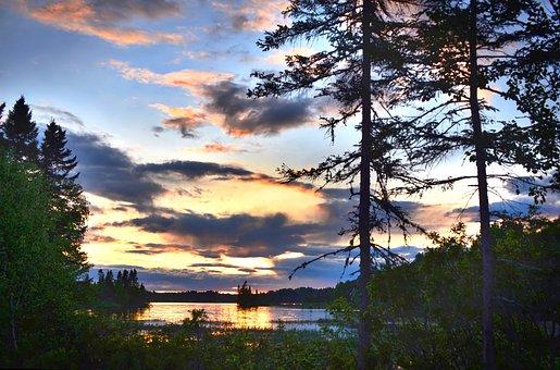 Sunset, Landscape, Colors, Contrast, Sky, Trees, Lake