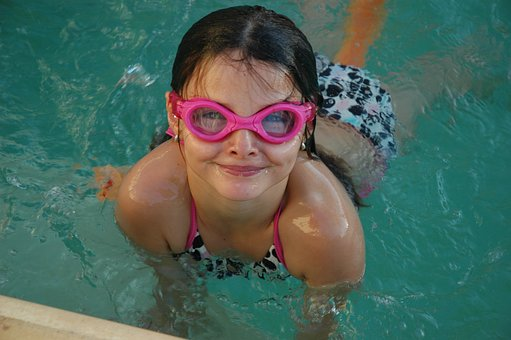 Swimming, Girl, Goggles, Water, Pool, Summer, Vacation