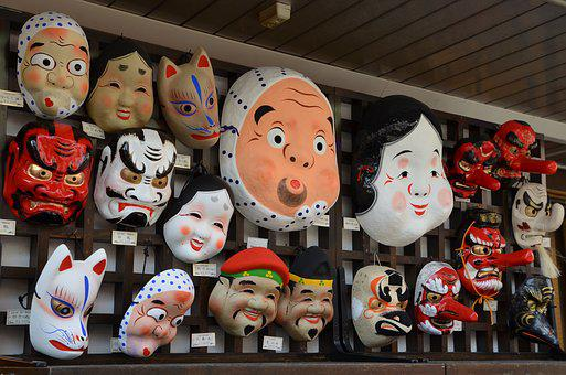 Masks, Japanese, Japan, Traditional, Culture, Face