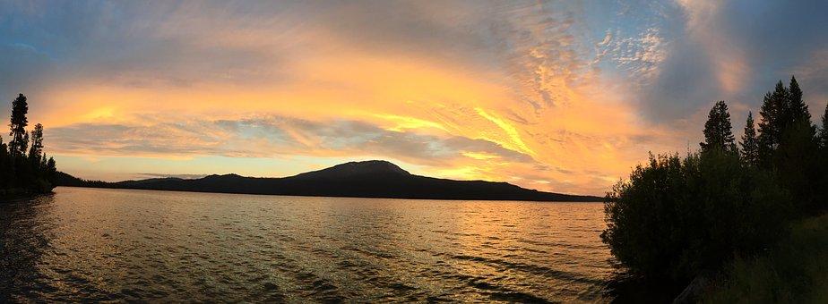 Sunset, Horizon, Lake, Landscape, Sky, Summer, Scenic