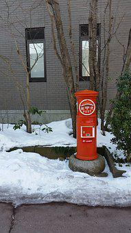 Postbox, Japan, Historic, Snow, Red, Post, Mailbox
