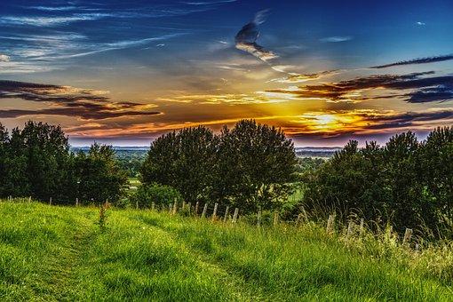 Sunset, Meadow, Landscape, Nature, Mood, Sun
