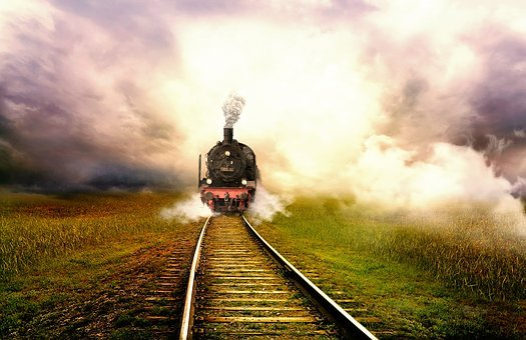 Train, Landscape, Fog, Seemed, Railway, Mystical