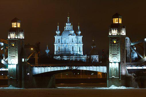 St Petersburg Russia, Bridge, Cathedral, Night, River