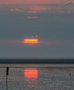 North Sea, Ebb, Sunset, Tides, Watts, Wadden Sea