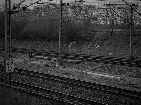 Railway Rails, Black And White, Railway Tracks