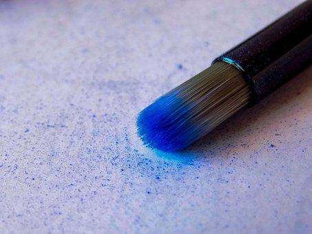 Brush, Makeup, Blue, Shadows