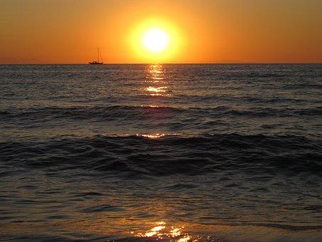 Sea, Mediterranean, Sunset, Sunset Sea, Afterglow