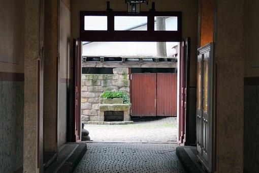 Backyard, Driveway, Stone, Wall, Wooden Gate