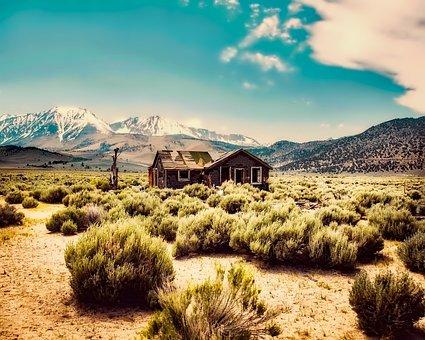 Desert, Shack, Cabin, Abandoned, Remote, Hdr, Mountains